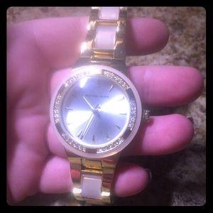 Michael kors watch stainless steel gold n pink